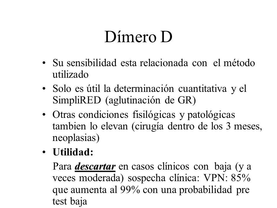 Dímero D Su sensibilidad esta relacionada con el método utilizado Solo es útil la determinación cuantitativa y el SimpliRED (aglutinación de GR) Otras
