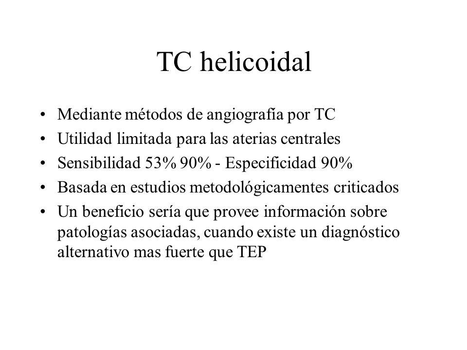 TC helicoidal Mediante métodos de angiografía por TC Utilidad limitada para las aterias centrales Sensibilidad 53% 90% - Especificidad 90% Basada en e