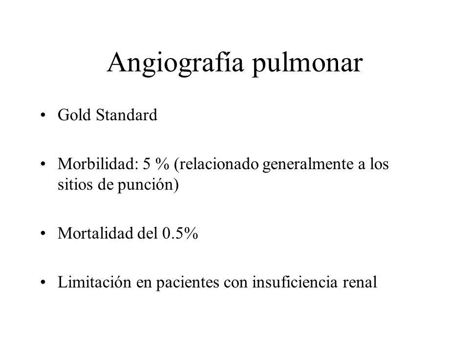 Angiografía pulmonar Gold Standard Morbilidad: 5 % (relacionado generalmente a los sitios de punción) Mortalidad del 0.5% Limitación en pacientes con