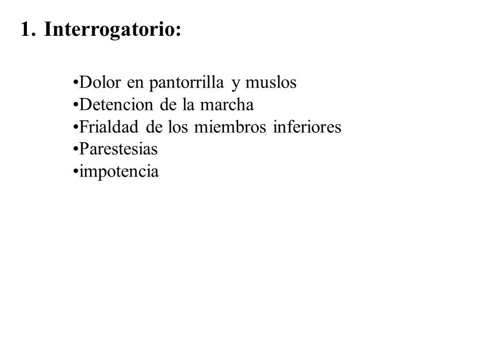 1.Interrogatorio: Dolor en pantorrilla y muslos Detencion de la marcha Frialdad de los miembros inferiores Parestesias impotencia