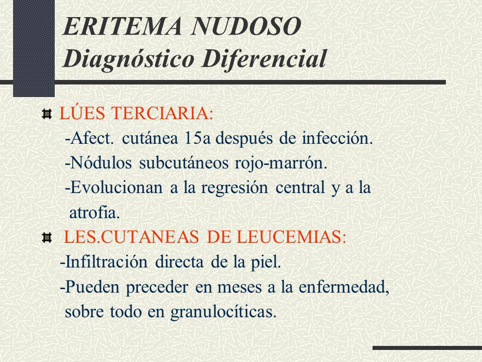 ERITEMA NUDOSO Diagnóstico Diferencial LÚES TERCIARIA: -Afect. cutánea 15a después de infección. -Nódulos subcutáneos rojo-marrón. -Evolucionan a la r