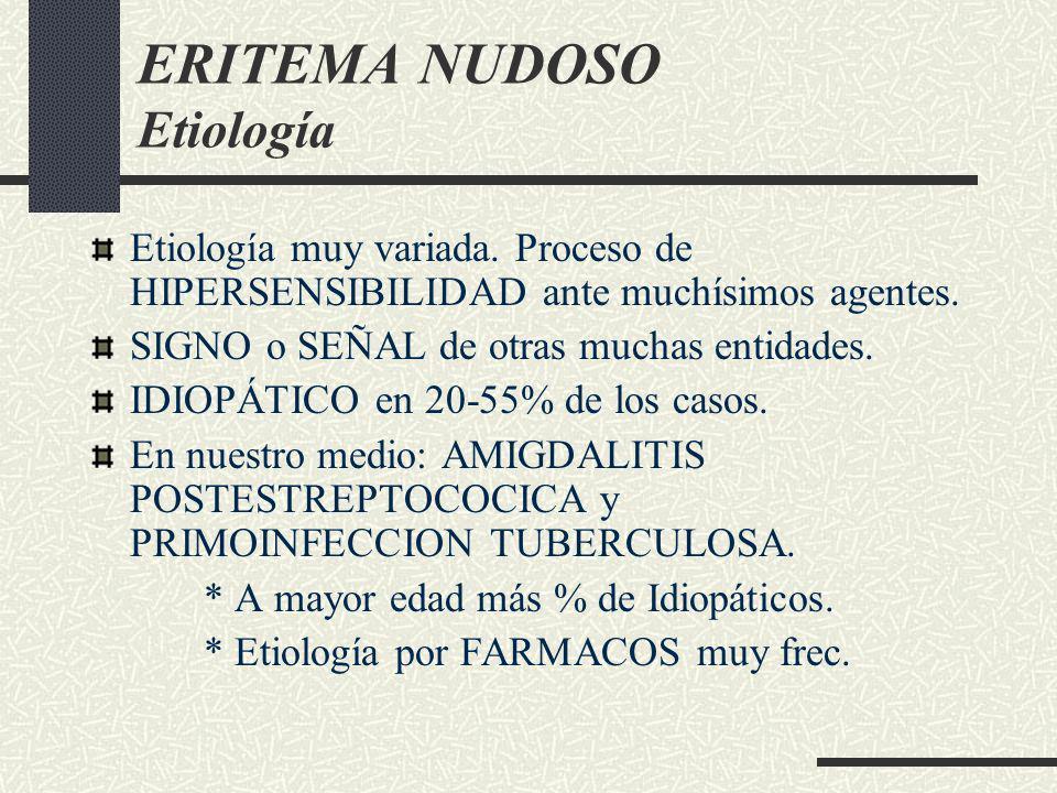 ERITEMA NUDOSO Etiología Etiología muy variada. Proceso de HIPERSENSIBILIDAD ante muchísimos agentes. SIGNO o SEÑAL de otras muchas entidades. IDIOPÁT