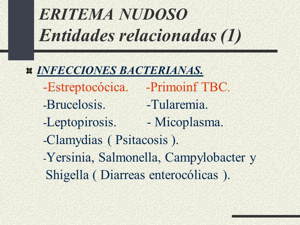 ERITEMA NUDOSO Entidades relacionadas (1) INFECCIONES BACTERIANAS. -Estreptocócica. -Primoinf TBC. - Brucelosis. -Tularemia. - Leptopirosis. - Micopla