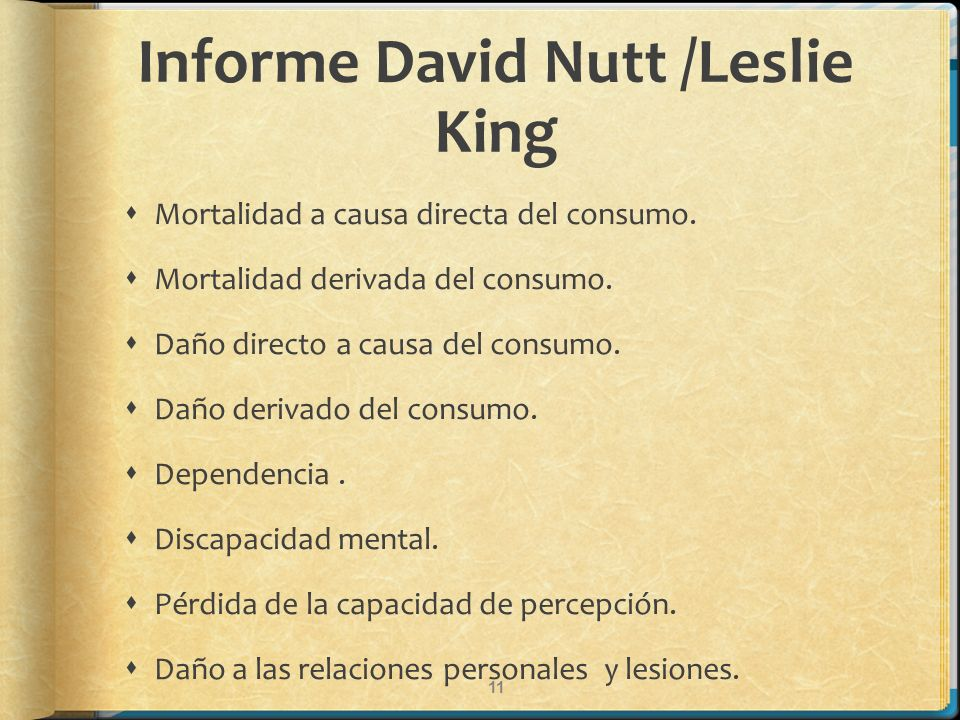 Informe David Nutt /Leslie King Mortalidad a causa directa del consumo. Mortalidad derivada del consumo. Daño directo a causa del consumo. Daño deriva