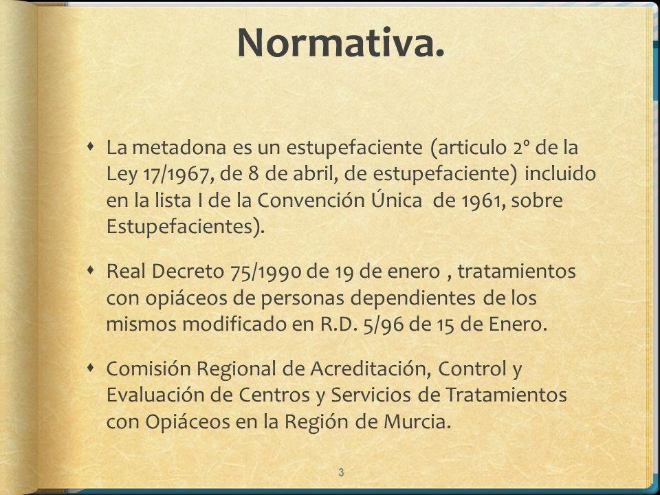 Normativa. 3 La metadona es un estupefaciente (articulo 2º de la Ley 17/1967, de 8 de abril, de estupefaciente) incluido en la lista I de la Convenció