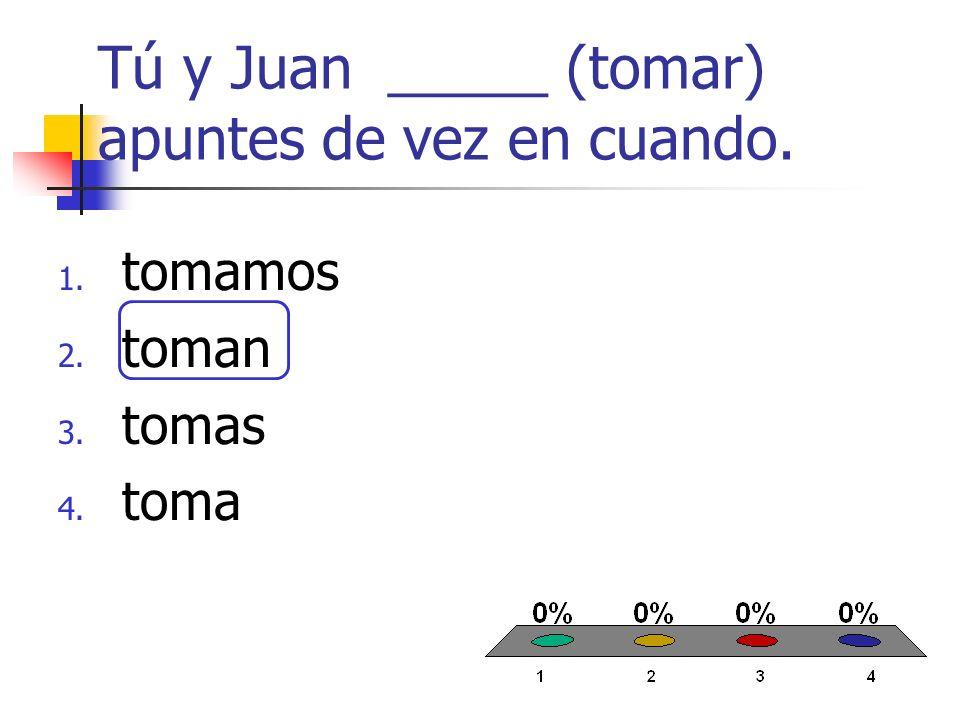 ¿Cuántos estudiantes ______ (estudiar) mucho? 1. estudian 2. estudiamos 3. estudia 4. estudias