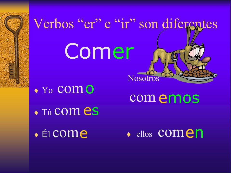 Verbos er e ir son diferentes Yo como Tú comas É l coma Nosotros comamos ellos coman Comer X X XXX X