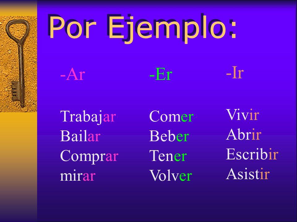En español, hay TRES infinitivos ar er ir