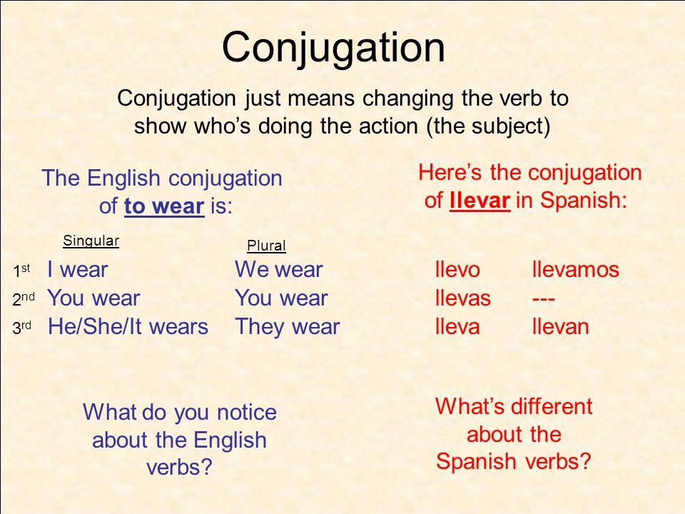 llevar llevo ----- llev as a amos an Think of Spanish verb conjugation like a 2 step math formula – - (yo) (tú) (él/ella/ud.) (nosotros) (ellos/ellas/uds.) (---) -o -amos -as -- -a -an Step 1 Step 2 A conjugated verb Infinitive llevar -.