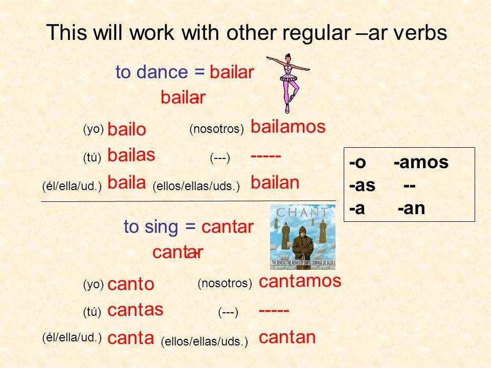 bailar bailo ----- bail as a amos an This will work with other regular –ar verbs - (yo) (tú) (él/ella/ud.) (nosotros) (ellos/ellas/uds.) (---) to danc