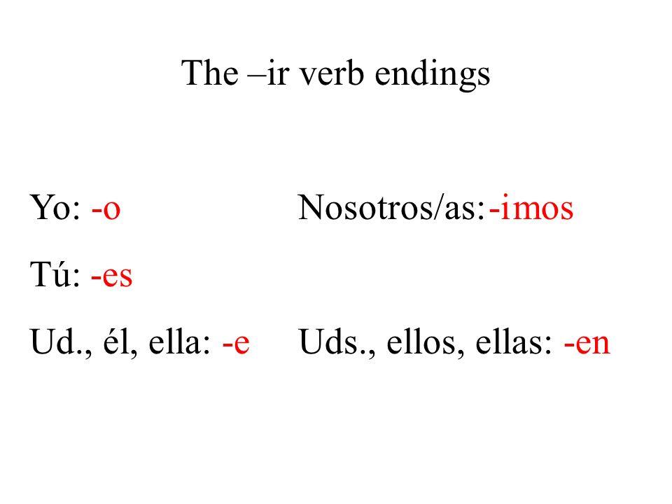 The –ir verb endings Yo: -oNosotros/as: mos Tú: -es Ud., él, ella: -eUds., ellos, ellas: -en -i
