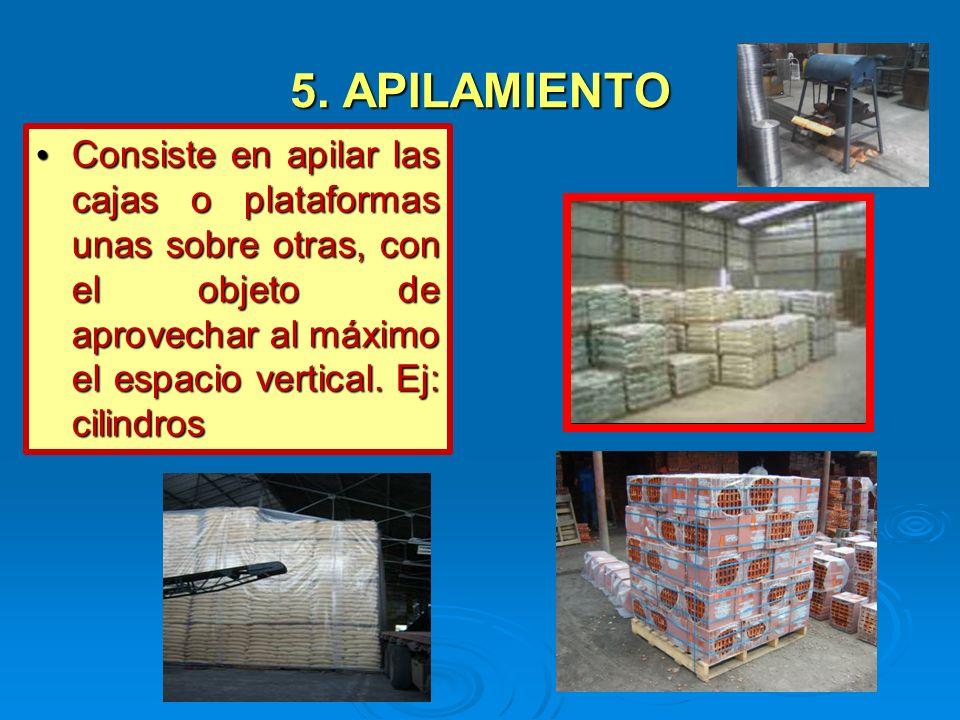 5. APILAMIENTO Consiste en apilar las cajas o plataformas unas sobre otras, con el objeto de aprovechar al máximo el espacio vertical. Ej: cilindros C