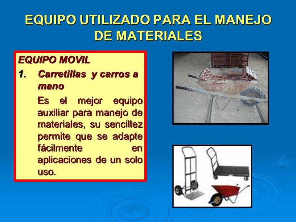 EQUIPO UTILIZADO PARA EL MANEJO DE MATERIALES EQUIPO MOVIL 1.Carretillas y carros a mano Es el mejor equipo auxiliar para manejo de materiales, su sen