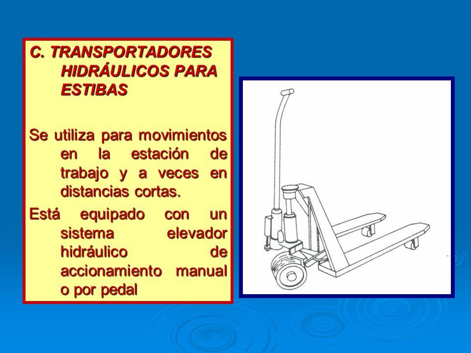 C. TRANSPORTADORES HIDRÁULICOS PARA ESTIBAS Se utiliza para movimientos en la estación de trabajo y a veces en distancias cortas. Está equipado con un