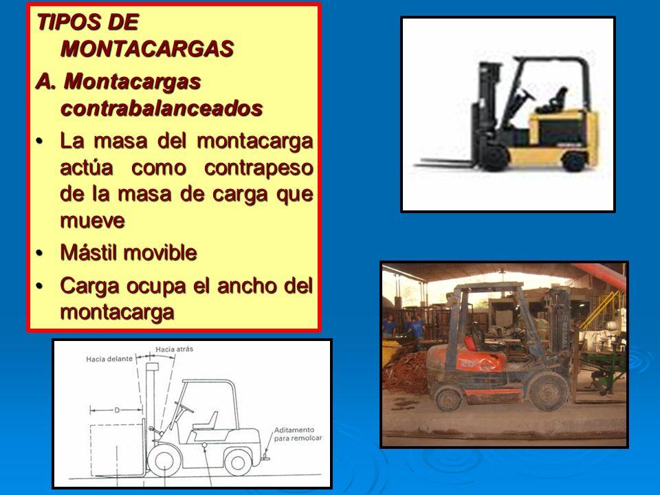 TIPOS DE MONTACARGAS A. Montacargas contrabalanceados La masa del montacarga actúa como contrapeso de la masa de carga que mueve La masa del montacarg