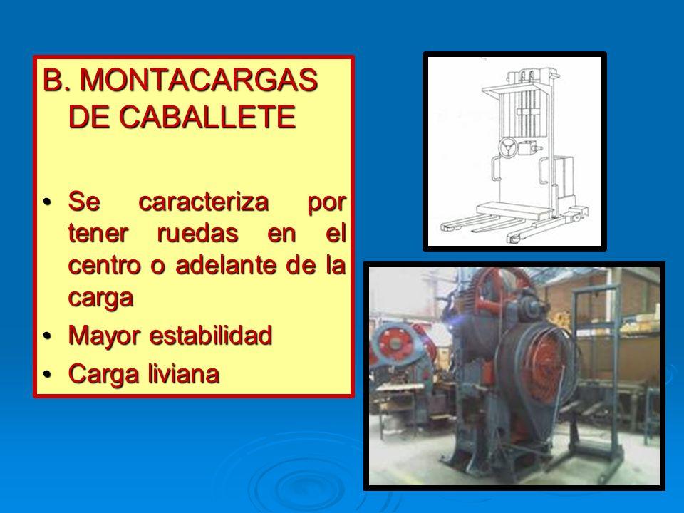 B. MONTACARGAS DE CABALLETE Se caracteriza por tener ruedas en el centro o adelante de la carga Se caracteriza por tener ruedas en el centro o adelant