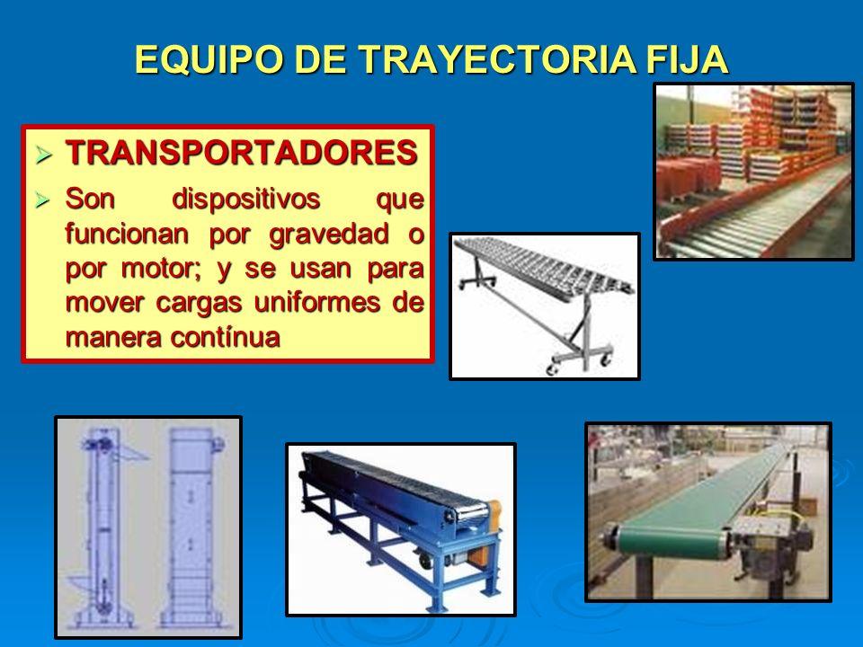 EQUIPO DE TRAYECTORIA FIJA TRANSPORTADORES TRANSPORTADORES Son dispositivos que funcionan por gravedad o por motor; y se usan para mover cargas unifor