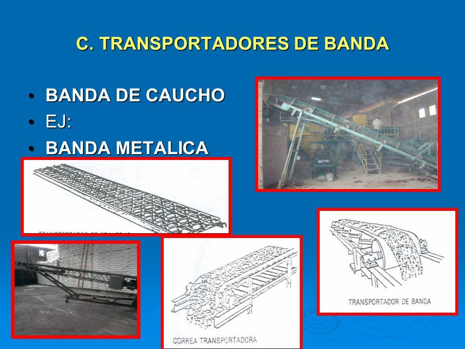 C. TRANSPORTADORES DE BANDA BANDA DE CAUCHO BANDA DE CAUCHO EJ: EJ: BANDA METALICA BANDA METALICA
