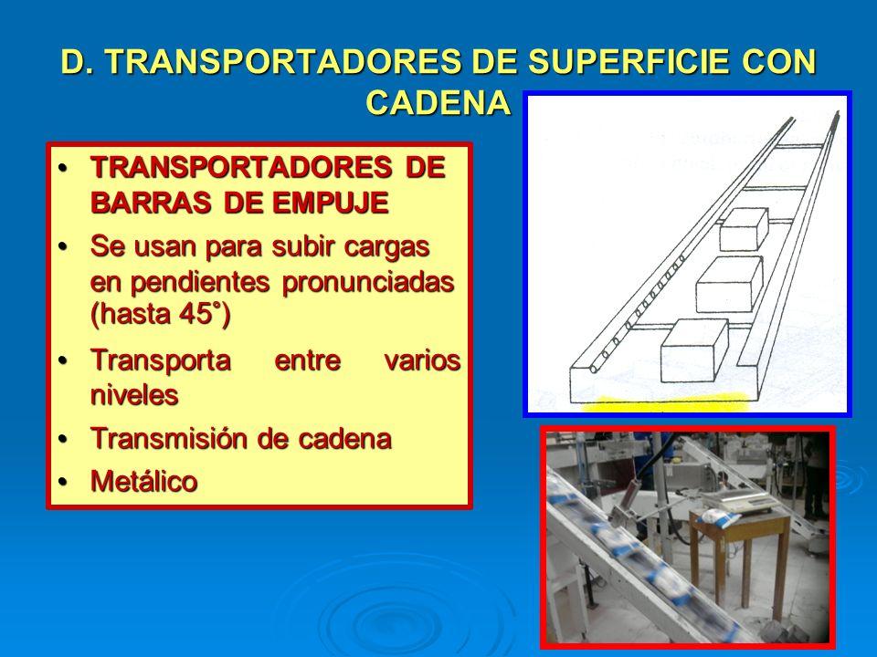D. TRANSPORTADORES DE SUPERFICIE CON CADENA TRANSPORTADORES DE BARRAS DE EMPUJE TRANSPORTADORES DE BARRAS DE EMPUJE Se usan para subir cargas en pendi