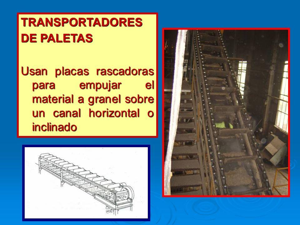 TRANSPORTADORES DE PALETAS Usan placas rascadoras para empujar el material a granel sobre un canal horizontal o inclinado