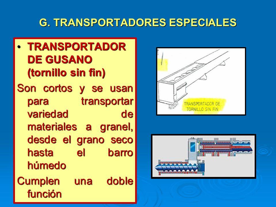 G. TRANSPORTADORES ESPECIALES TRANSPORTADOR DE GUSANO (tornillo sin fin) TRANSPORTADOR DE GUSANO (tornillo sin fin) Son cortos y se usan para transpor