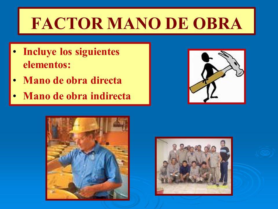 FACTOR MANO DE OBRA Incluye los siguientes elementos: Mano de obra directa Mano de obra indirecta