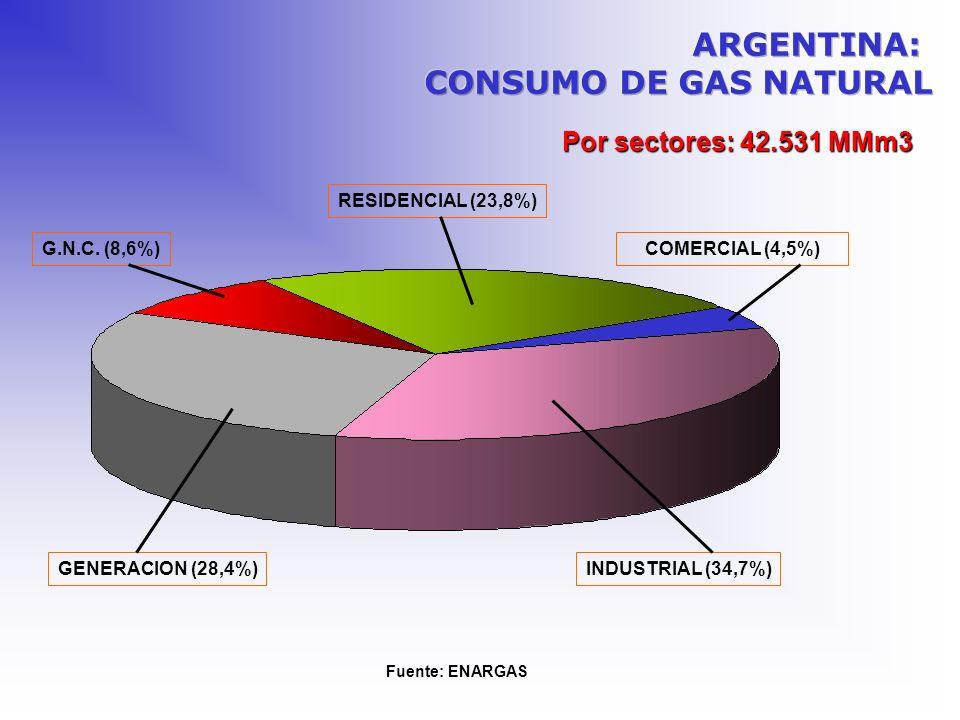 Por sectores: 42.531 MMm3 COMERCIAL (4,5%) Fuente: ENARGAS RESIDENCIAL (23,8%) G.N.C. (8,6%) INDUSTRIAL (34,7%)GENERACION (28,4%)