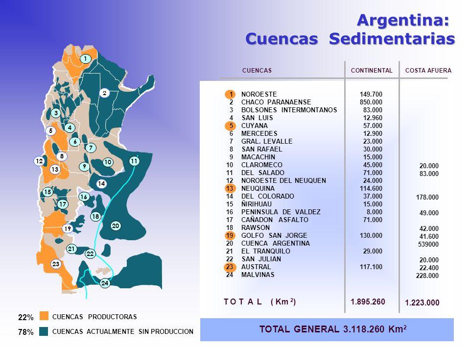 T O T A L ( Km 2 ) TOTAL GENERAL 3.118.260 Km 2 NOROESTE CHACO PARANAENSE BOLSONES INTERMONTANOS SAN LUIS CUYANA MERCEDES GRAL. LEVALLE SAN RAFAEL MAC