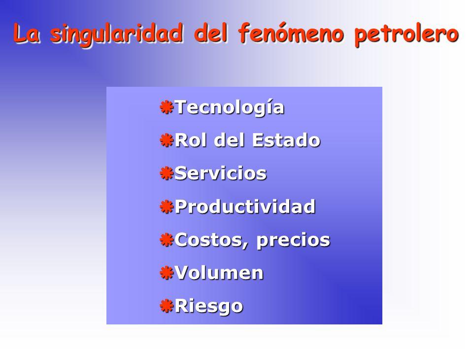 La singularidad del fenómeno petrolero Tecnología Tecnología Rol del Estado Rol del Estado Servicios Servicios Productividad Productividad Costos, pre