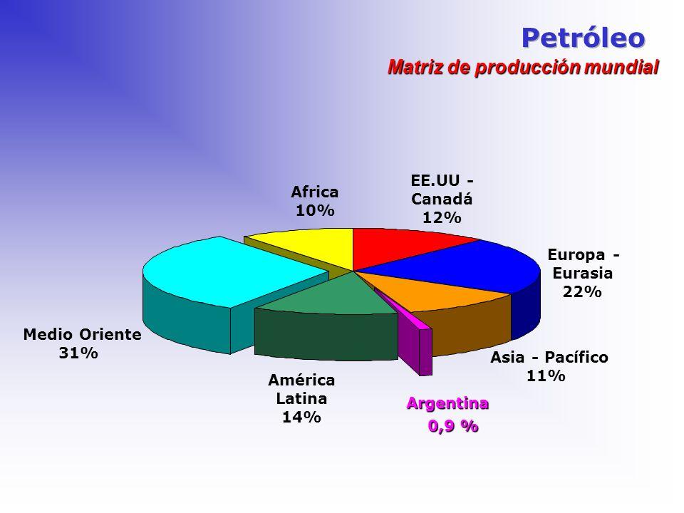 EE.UU - Canadá 12% Europa - Eurasia 22% Asia - Pacífico 11% América Latina 14% Medio Oriente 31% Africa 10% Matriz de producción mundial Argentina 0,9