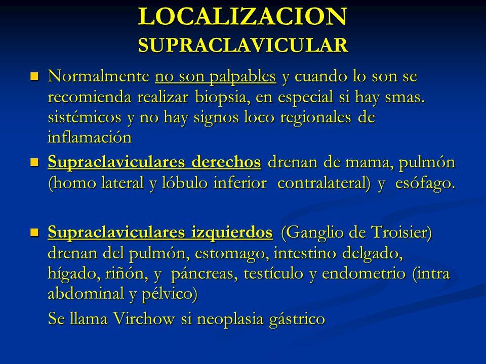 LOCALIZACION SUPRACLAVICULAR Normalmente no son palpables y cuando lo son se recomienda realizar biopsia, en especial si hay smas. sistémicos y no hay