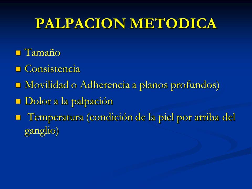 PALPACION METODICA Tamaño Tamaño Consistencia Consistencia Movilidad o Adherencia a planos profundos) Movilidad o Adherencia a planos profundos) Dolor