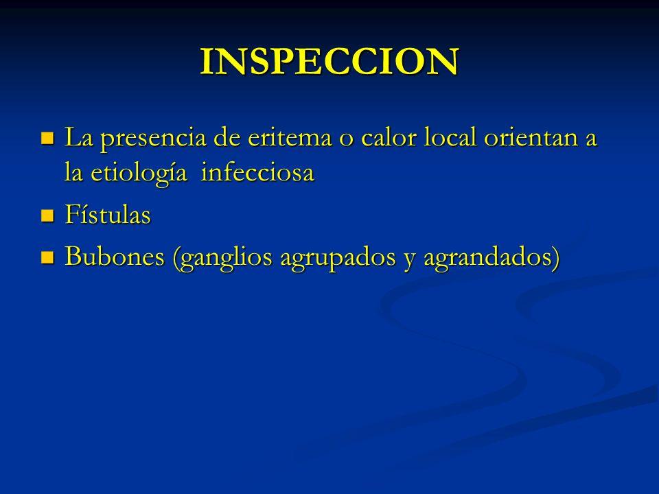 INSPECCION La presencia de eritema o calor local orientan a la etiología infecciosa La presencia de eritema o calor local orientan a la etiología infe