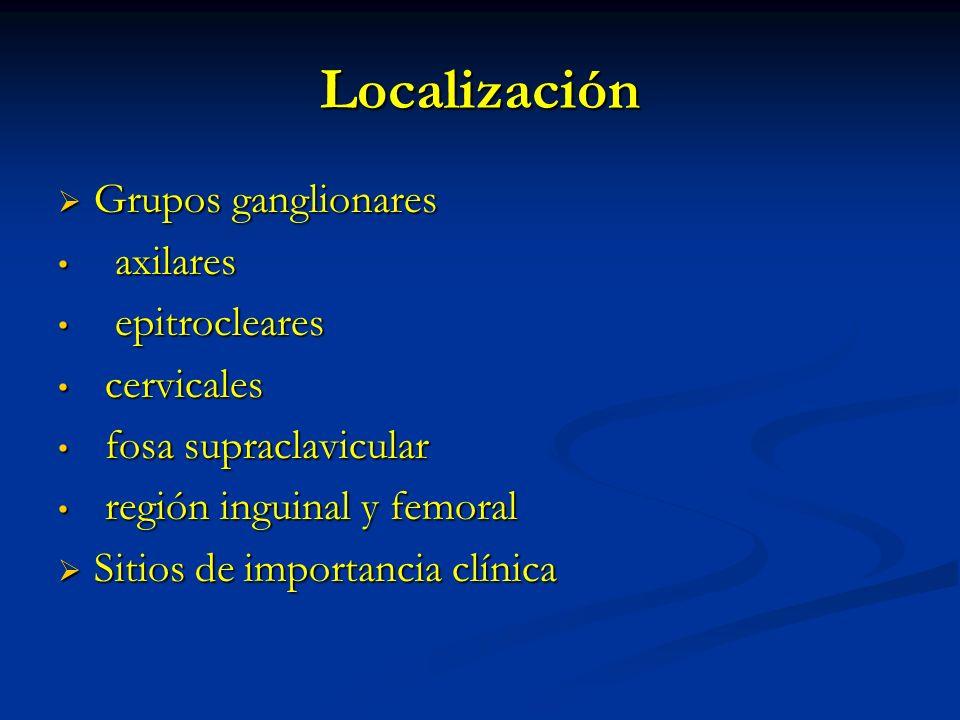 Localización Grupos ganglionares Grupos ganglionares axilares axilares epitrocleares epitrocleares cervicales cervicales fosa supraclavicular fosa sup