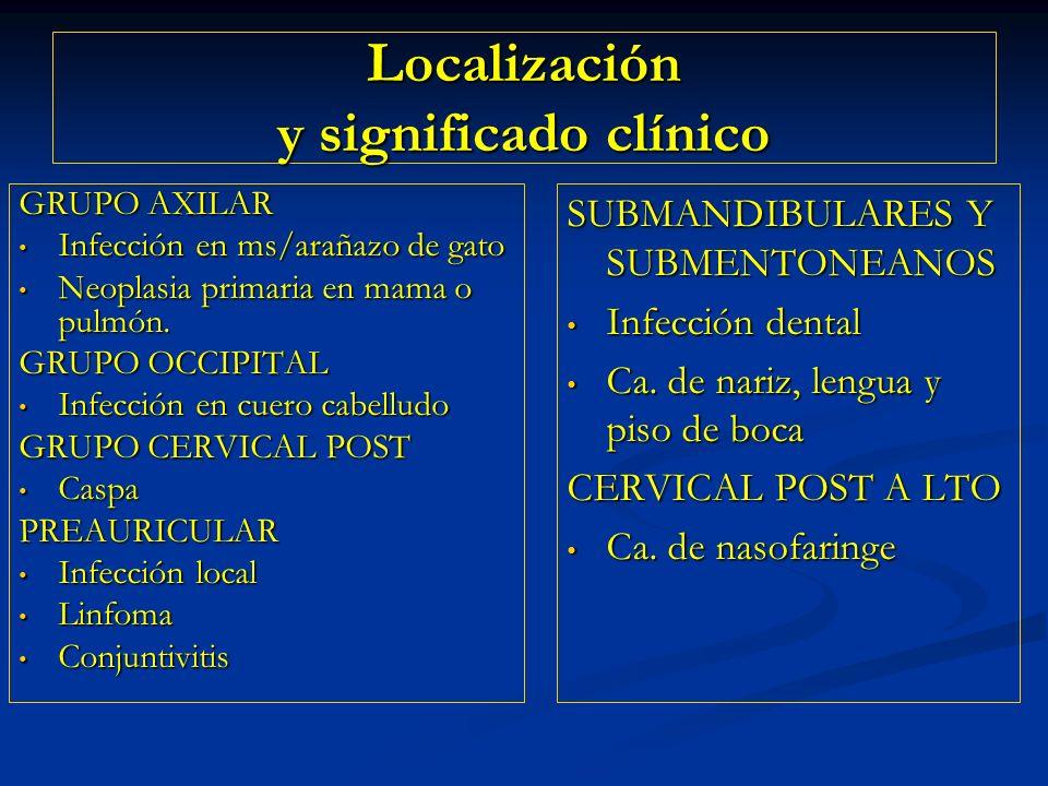 Localización y significado clínico SUBMANDIBULARES Y SUBMENTONEANOS Infección dental Ca. de nariz, lengua y piso de boca CERVICAL POST A LTO Ca. de na