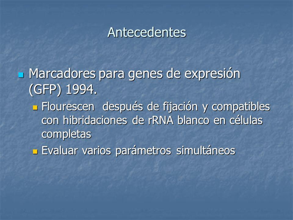 Antecedentes Marcadores para genes de expresión (GFP) 1994. Marcadores para genes de expresión (GFP) 1994. Flourescen después de fijación y compatible