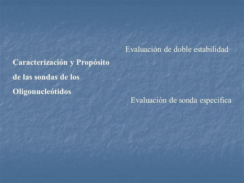 Caracterización y Propósito de las sondas de los Oligonucleótidos Evaluación de doble estabilidad Evaluación de sonda especifica