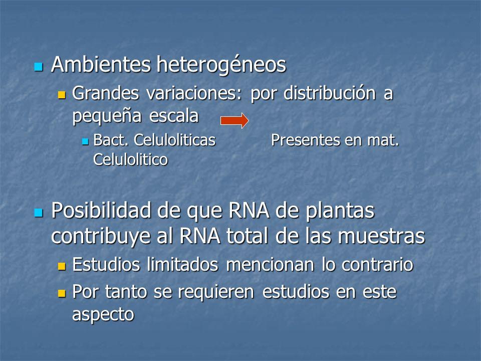 Ambientes heterogéneos Ambientes heterogéneos Grandes variaciones: por distribución a pequeña escala Grandes variaciones: por distribución a pequeña e