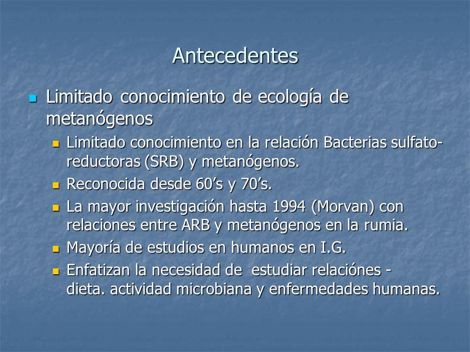 Antecedentes Limitado conocimiento de ecología de metanógenos Limitado conocimiento de ecología de metanógenos Limitado conocimiento en la relación Ba