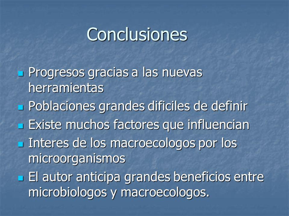 Conclusiones Progresos gracias a las nuevas herramientas Progresos gracias a las nuevas herramientas Poblaciones grandes dificiles de definir Poblacio