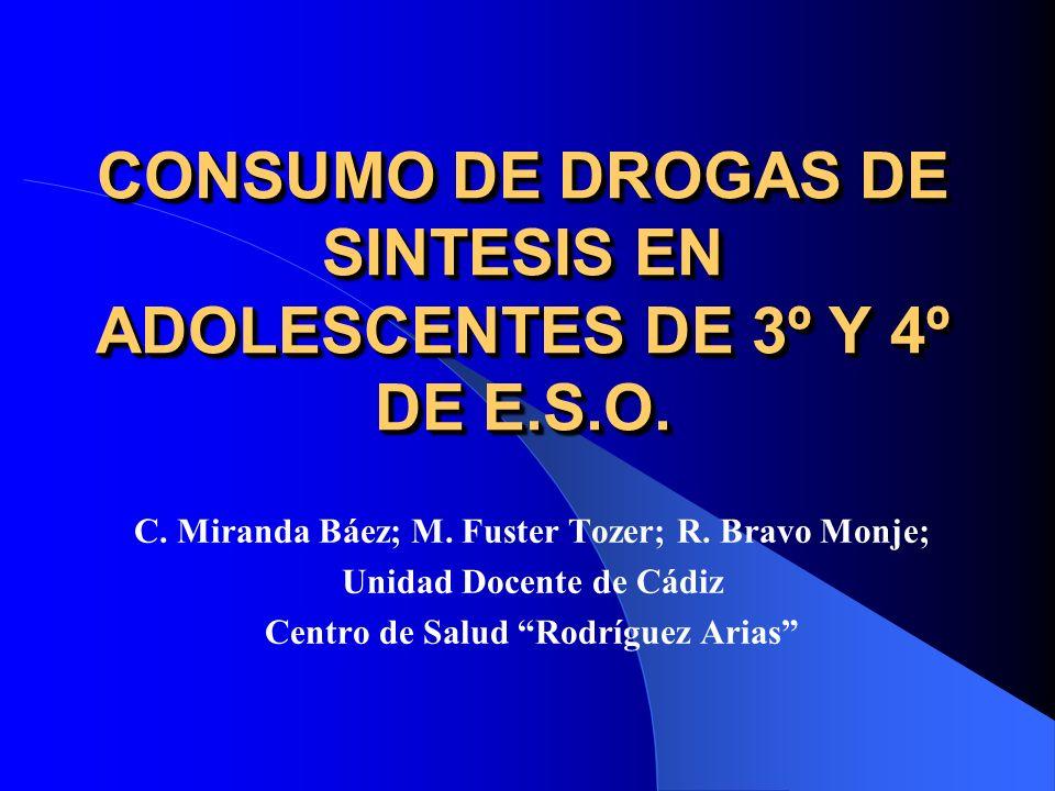 CONSUMO DE DROGAS DE SINTESIS EN ADOLESCENTES DE 3º Y 4º DE E.S.O. C. Miranda Báez; M. Fuster Tozer; R. Bravo Monje; Unidad Docente de Cádiz Centro de