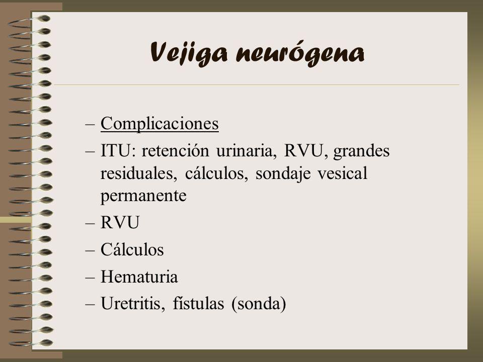 Vejiga neurógena –Complicaciones –ITU: retención urinaria, RVU, grandes residuales, cálculos, sondaje vesical permanente –RVU –Cálculos –Hematuria –Ur