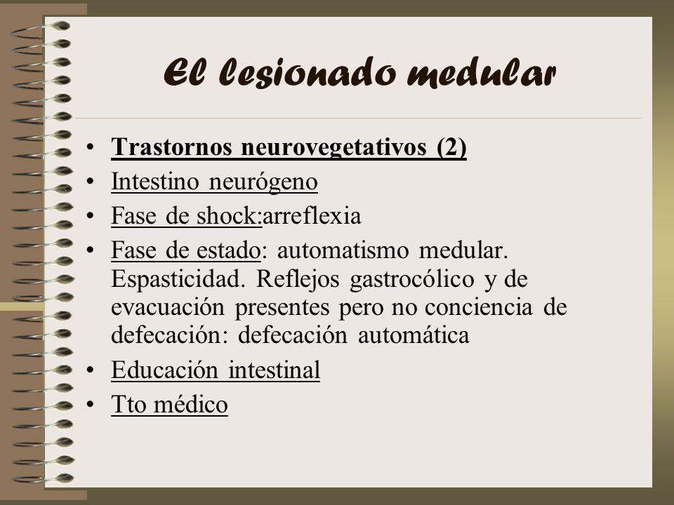 El lesionado medular Trastornos neurovegetativos (2) Intestino neurógeno Fase de shock:arreflexia Fase de estado: automatismo medular. Espasticidad. R