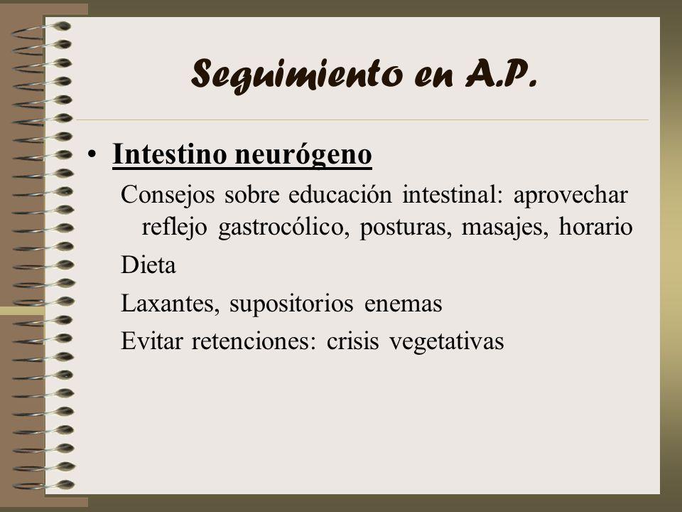 Seguimiento en A.P. Intestino neurógeno Consejos sobre educación intestinal: aprovechar reflejo gastrocólico, posturas, masajes, horario Dieta Laxante