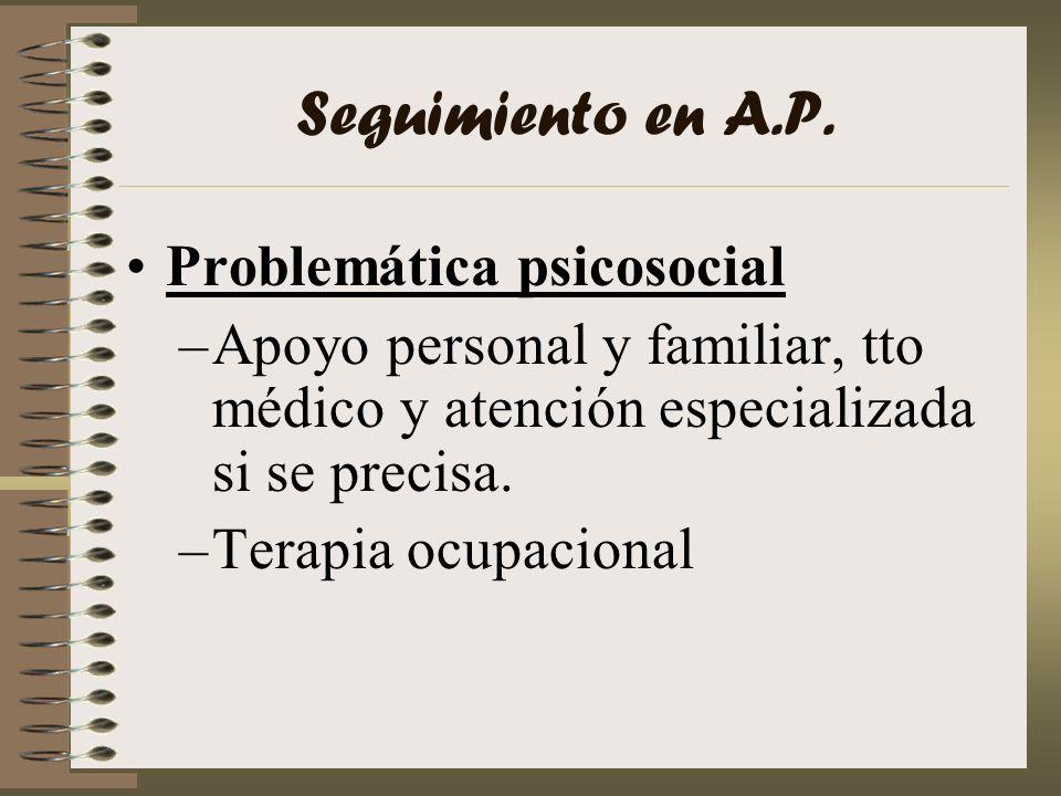 Seguimiento en A.P. Problemática psicosocial –Apoyo personal y familiar, tto médico y atención especializada si se precisa. –Terapia ocupacional