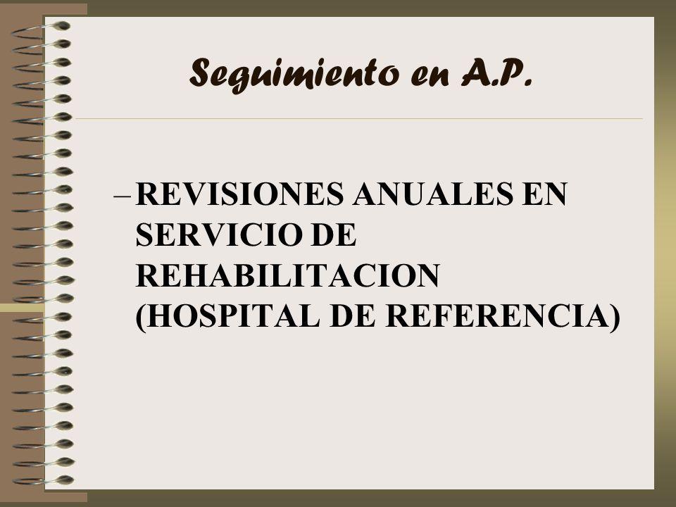 Seguimiento en A.P. –REVISIONES ANUALES EN SERVICIO DE REHABILITACION (HOSPITAL DE REFERENCIA)