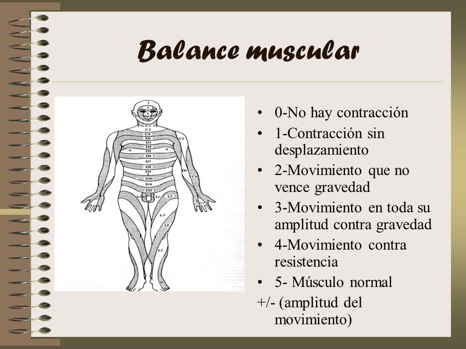 Balance muscular 0-No hay contracción 1-Contracción sin desplazamiento 2-Movimiento que no vence gravedad 3-Movimiento en toda su amplitud contra grav