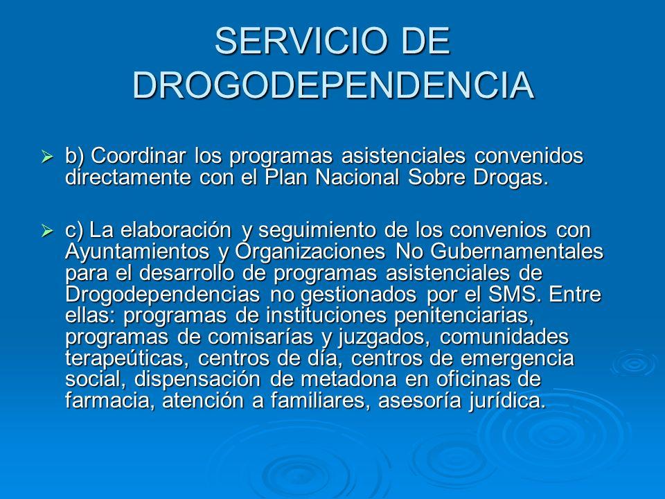 SERVICIO DE DROGODEPENDENCIA b) Coordinar los programas asistenciales convenidos directamente con el Plan Nacional Sobre Drogas. b) Coordinar los prog