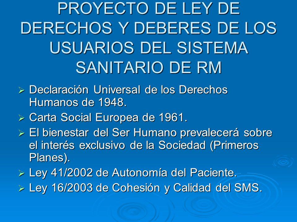PROYECTO DE LEY DE DERECHOS Y DEBERES DE LOS USUARIOS DEL SISTEMA SANITARIO DE RM Declaración Universal de los Derechos Humanos de 1948. Declaración U