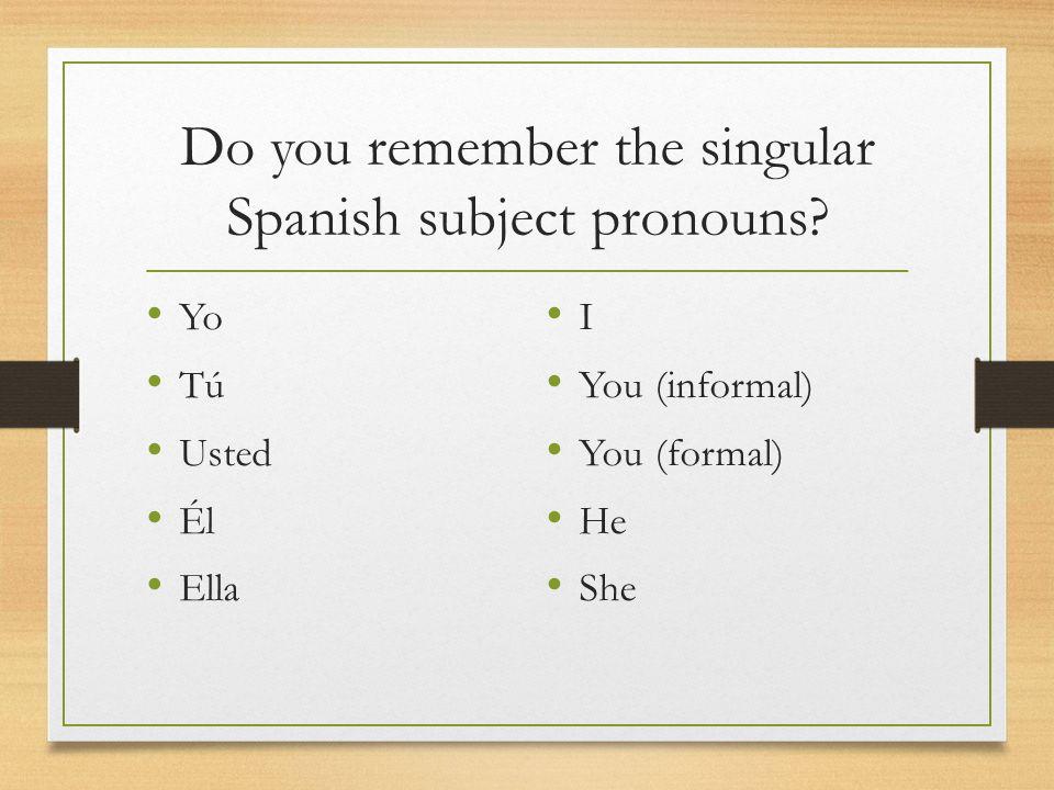 Do you remember the singular Spanish subject pronouns? Yo Tú Usted Él Ella I You (informal) You (formal) He She